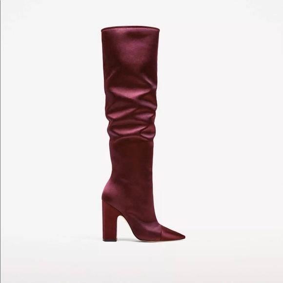 Zara Shoes - Zara sateen high heel boots sz 39/us 8